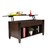 Levante a mesa de café superior com espaço de armazenamento Prateleiras Moden Moden Mobiliário Material de madeira maciça Brown