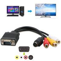 100pcs التي / الكثير لأجهزة الكمبيوتر المحمول PC الكمبيوتر SVGA VGA إلى التلفزيون S-فيديو RCA AV 3 الصوت 3RCA فيديو خارج كابل محول محول