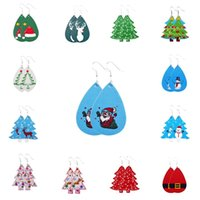 2020 Women Christmas Earrings Charm Jewelry 16 Styles Fashion Lightweight Faux Leather Drop Earring Statement Earrings Party Favor L458FA