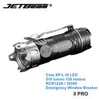 Jetbeam II PRO كري XP-L LED البسيطة ضوء الشعلة 16340 التخييم الصغيرة مشاعل مع ويندوز الدفاع عن النفس قواطع