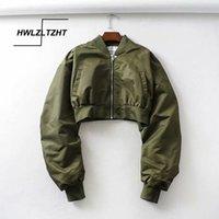HWLZLTZHT 2020 Sonbahar Kısa Kadınlar Beyzbol Ceketler Gevşek Coats Kadınlar Fermuar Casual Temel Ceket Bombacı Coat Kadın Dış Giyim CX200725 Tops