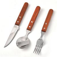 وضع مقبض خشبي الفولاذ المقاوم للصدأ أواني شوكة سكين ملعقة الطبيعية أطباق دائم الأغذية الغربية أدوات المائدة أدوات المائدة HHA1449