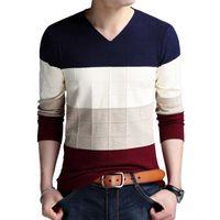 Мужские свитера Бренд-свитер Осенняя футболка с длинным рукавом V-образным вырезом Тонкие вязаные полосы свитер нижняя рубашка большого размера M-4XL