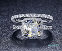 Lusso- qualità NSCD sintetico Gem 3 Carat Cushion Cut Engagement Wedding Ring Set per le donne, sposa di Y19052201
