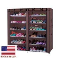 Легко собрать кофейных цветов Грязные стойкие стойки для хранения 6 ряд 2-х строк 12 решетки нетканые ткани обуви