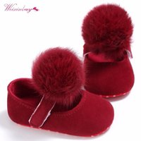 WEIXINBUY Baby Shoes Solid Infant Girls Shallow First Walkers Toddler Plush Ball Anti Slip Moccasins 0-18 Months