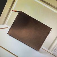 M47542 السفر أدوات الزينة مرحاض الحقيبة 26 CM حماية الجمال حالة غسل حقيبة الفاصل النساء أرقاما قماش جلد رجل مستحضرات التجميل حقائب 47542