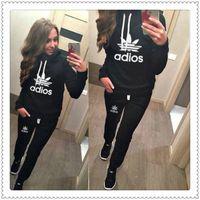 Yeni Kadın Aktif Set Eşofman Hoodies Kazak + Pantolon Koşu Spor Parça Takım Elbise 2 Parça Koşu Setleri Survetement Femme Giysileri Ücretsiz 021