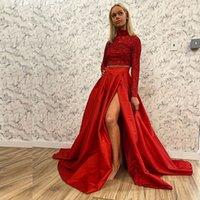 Red Zwei Stücke Nixe-Heimkehr-Kleid-Ausschnitt Langarm Pailletten-Abschluss-Kleid-lange Mädchen Abendkleid