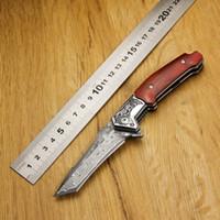 Kubey Unicorn [DM147] Padrão Folding faca de caça gravado Damasco lâmina punho de madeira bolso Camping Ferramenta de Mão Caminhadas Knives Outdoor