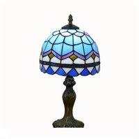 Simples Europeia luz azul mediterrânica criativa Tiffany vitrais sala quarto cabeceira da lâmpada de mesa TF002