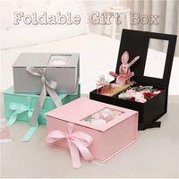 الوردي مخصص فضي اللون الرمادي حزمة شقة قابلة للطي مربع التعبئة والتغليف ورقة المغناطيسي هدية طوي مربع
