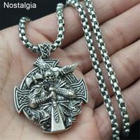 Odin Axe And Raven Amulet Norse Cross Rosova Viking Necklace...