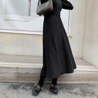 2020 Autumn Vintage Ladies Black Skirt Solid Retro Chic Long Skirts For Women High Waist A-line Femme Satin Faldas