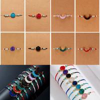Hand-geweven kostbare edelsteen armband maken een wens natuursteen armband handgemaakte kralen gevlochten armbanden met kaart sieraden drop schip