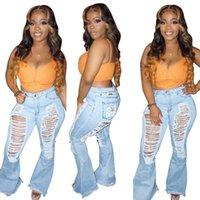 Oco Out Denim Pants Mulheres retros Sólidos Sexy furo jeans rasgado alargamento Calças Rua Skinny cintura alta Lady Pant