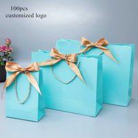 Frame ile 100x Kağıt Çanta Hediye Kutuları Emtia Ambalaj Çanta özelleştirme Logo, Alışveriş Promosyon Çanta Düğün Hediyeleri Paketleme