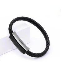 Браслет USB Тип кабеля C / Micro USB Кабель кожаные тканые данные синхронизации зарядного устройства адаптер для Samsuang S20 / S10 / S9 / S8 / Note 10 телефонов Android