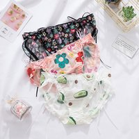 New printed avocado underwear lace mesh low waist briefs breathable seamless women's cute underwear bow floral panties