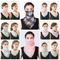 Blumenmuster Schal-Gesichtsmaske 40 Farben Anti-UV-Chiffon-Schal Outdoor Sport Radfahren Gesichtsmaske Frauen-Sommer-Halstuch CCA12370 120pcs