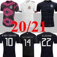 Jogador de Jogador 20 21 México Futebol Jerseys Away H.Lozano dos Santos Chicharito 2020 2021 Homens negros Rosa Kit Kit Futebol Uniforme Camisas
