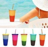 5Pcs / set temperatura calda 700ML di plastica Cambia Coppe colore fredda colore di acqua Cambiare bottiglie tazza tazza di caffè d'acqua con cannucce Set
