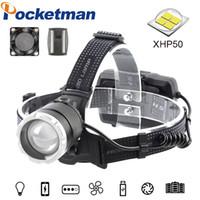 pesca poderoso LED Farol recarregável USB Zoomable rotação Luz cabeça da tocha XHP50.2 Farol Caminhadas Camping 18650 lanterna