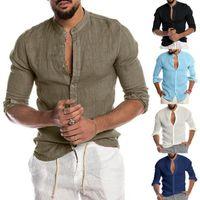 Shirt casual per uomo solido di colore stand colletto a maniche lunghe Maschio Camicie Top M-3XL homme Camicia Uomo Abbigliamento Masculina Camisa