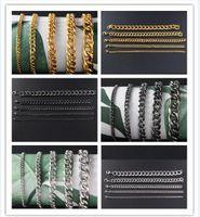 Männer Edelstahlband Gold-silbrig schwarz Seitenkette Armband 3 mm 5 mm 7MM 9MM 11mm * 21cm Art und Weise Goldarmband 10pcs / lot