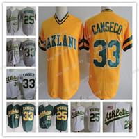 최고 품질 33 Jose Canseco 25 Mark 25 McGwire Mens 흰색 회색 노란색 스티치 야구 유니폼 무료 배송