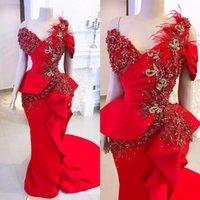 Plus storlek röd sjöjungfrun kvällsbild klänningar 2020 lyxig spets fjäder ruffles peplum afrikansk arabisk tillfälle prom klänning