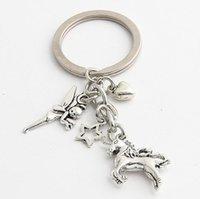 Anahtarlık Vintage Gümüş Anahtarlık Alaşım Anahtarlık İçin Tuşlar Araba Çanta Hediye Moda boynuzlu at Yeni Tasarımcı Küçük peri beş köşeli yıldız aşkı