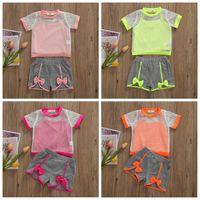 I bambini abiti firmati estate delle tute Mesh Bretelle Pantaloncini Camicia Sportsuit Crop Top grembiule Pant Outfits Work Out Sportwear BC7579