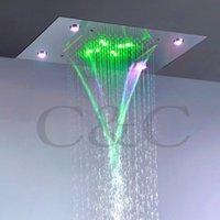 Contemporanea Pioggia E Cascata Bagno Doccia capo corrente alternata LED colorato Bagno su doccia rubinetto Set L-50X36P cjPg #