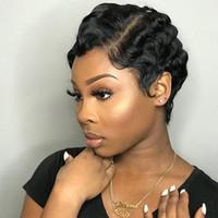 Dedo Dilys Cabello corto de encaje pelucas de pelo humano para las mujeres onda brasileña peluca pelo humano de Remy Pixie Cut cordón de pelucas para mujeres Negro
