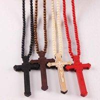 Kreuz Jesus Christen gute hölzerne Hip Hop Halskette Rosenkranz Halsschmuck Kruzifix Anhänger Halskette ps1388