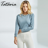 Tataria Long Sleeve Pullover for Women Pearl Beaded Sweater ...