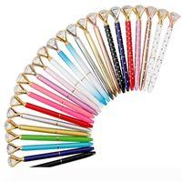 الإبداعية والزجاج والكريستال KAWAII قلم حبر جاف الكبير جوهرة الكرة القلم مع كميات كبيرة الماس 11 الألوان موضة مكتب المدرسة 362
