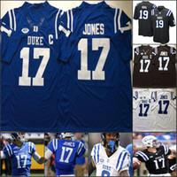Özel Duke Mavi Şeytanlar Futbol Dikişli Kişiselleştirilmiş Herhangi Bir Adı Numarası Royal Black White 17 Daniel Jones 87 Max McCaffrey NCAA Jersey