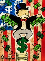 Alec Monopoly Graffiti art Money Wings Home Decor Handpainte...