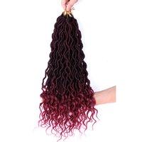 Shanghair 18 ''여신 가짜 LOCS 곱슬 엔드 짧은 물결 모양의 합성 헤어 확장 70g / PC 크로 셰 뜨개질 머리띠 블랙 Afros
