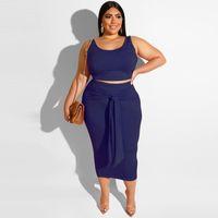Womens Tasarımcı Artı boyutu Kaşkorse İki Adet Sashes Yaz Moda Kadınlar Katı Renk Elbise ile Elbise U Boyun Kolsuz Kalem Elbise