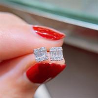 Игристые Сладкие Cut Fine Jewelry Real 925 Sterling Silver T Princess Cut белый топаз CZ Алмазный Бриллиантовые Свадебные серьги стержня подарков
