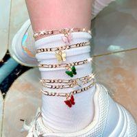 여성 보헤미안 다층 나비 Anklet Beach 크리 에이 티브 레트로 간단한 합금 더블 레이어 발 링크 체인 패션 쥬얼리