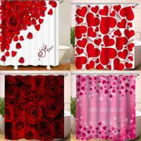 180x180cm Duschvorhang Digital Printing Bad Vorhänge Polyester-Wasser-Beweis-Herz-geformte Rose Petal Design Heißer Verkauf 26HS B2