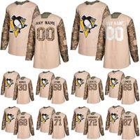 Pittsburgh Penguins Camo Veterans Dia Prática Jerseys 87 Sidney Crosby 66 Mario Lemieux 71 Malkin Personalizado Qualquer Número Qualquer Nome Hóquei Jersey