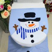 Blaue Snowman Badezimmer Abdeckung reizende Karikatur-Toilettensitzabdeckung für Kinder Großhandelsweihnachtsdekorationen INS Fashion Festival Dekoration