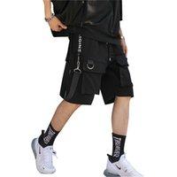 2020 novo verão multi-bolso homens carga shorts de cintura elástica street punk hip hop casuais corredores curtos transporte da gota LBZ59