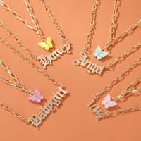 Süße populäre Art und Weise Layered Halskette Mädchen Acryl Schmetterling Double-Layer-Buchstabe-Alphabet-Engel Halskette Schmuck Geschenk für Frauen