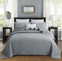 Cotton Stickerei Grau Beige Bettdecke King Size gesteppte Quilts Rosa bedcover Set Königin Luxus Bettwäsche-Sets Steppbettbezug Bettdecken